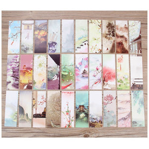 30pcs 18 Styles Creative Chinese Style Flowers Paper Bookmarks Painting Cards Retro Beautiful Boxed Bookmark Commemorative Gifts
