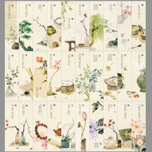 Load image into Gallery viewer, 30pcs 18 Styles Creative Chinese Style Flowers Paper Bookmarks Painting Cards Retro Beautiful Boxed Bookmark Commemorative Gifts