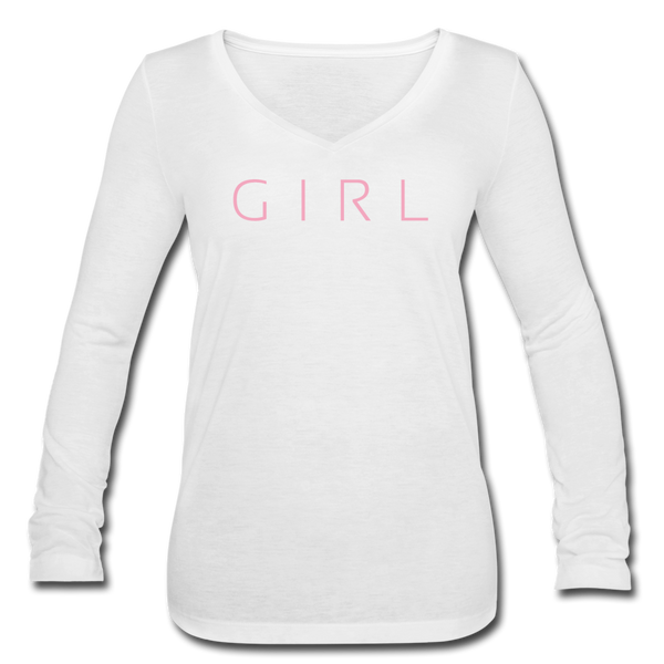 Girl Long Sleeve V - white