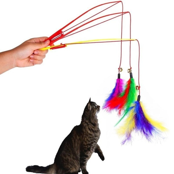 3 pcs Cats Interaction Rod Feather Hamster Dog Pet Funny Cat Color Random Elastic Strong Game Plastic Rod