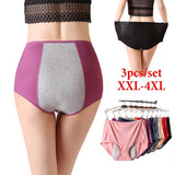 3pcs/set Plus Size Physiological Pants Leak Proof Menstrual Women Underwear Period Panties Cotton Health Seamless Briefs High Waist Warm Female