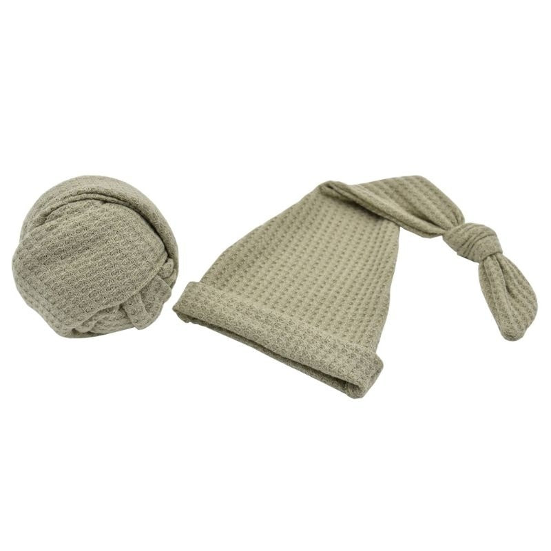 Newborn Photography Prop Infant Multi-colors Sleepy Knit Sleepy Cap+Knit Wrap Set Studio photo shoot Accessories   BAR