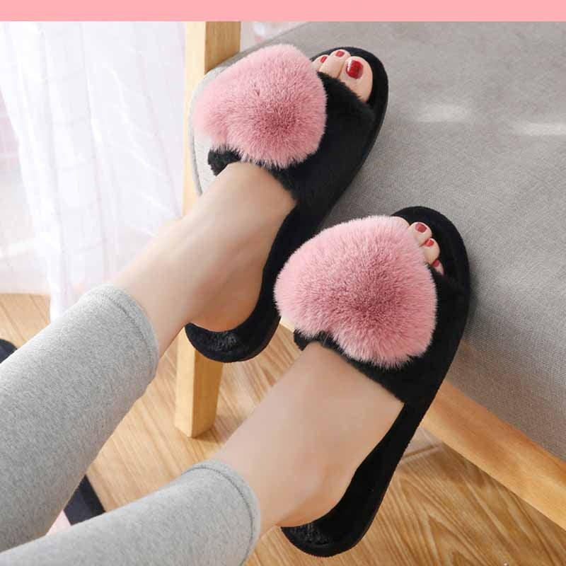 Winter Women Home Slippers Winter Plush Furry Woman Slip on Flats Faux Fur Fashion Warm Shoes Female Slides Plus Size 41