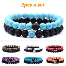 Load image into Gallery viewer, His and Hers Long Distance Touch Bracelet Friendship Bracelet Couple Bracelet Set Best Friend Bead Bracelet Set