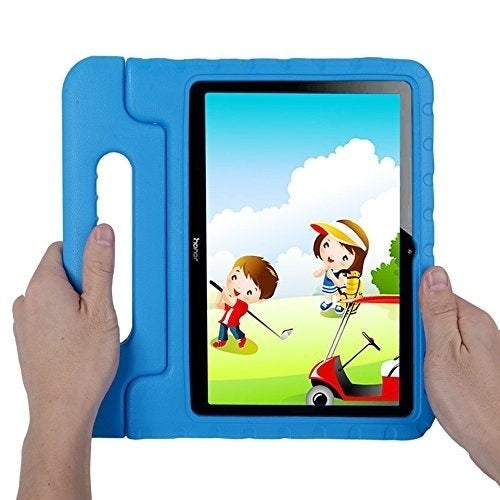 Kids Shock proof Huawei MediaPad T3 10-inch tablet Case,Shock Proof Huawei Honor Play Pad 2 9.6-in EVA Case for Kids Bumper Cover Handle Stand,Convertible Handle Lightweight Protective Cover (Blue)