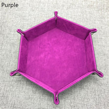 Load image into Gallery viewer, New High Quality PU Leather Hexagon Dice Collapsible Rolling Tray Storage Box for Board Games