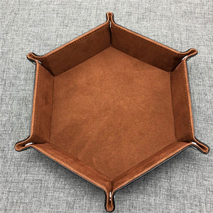 New High Quality PU Leather Hexagon Dice Collapsible Rolling Tray Storage Box for Board Games