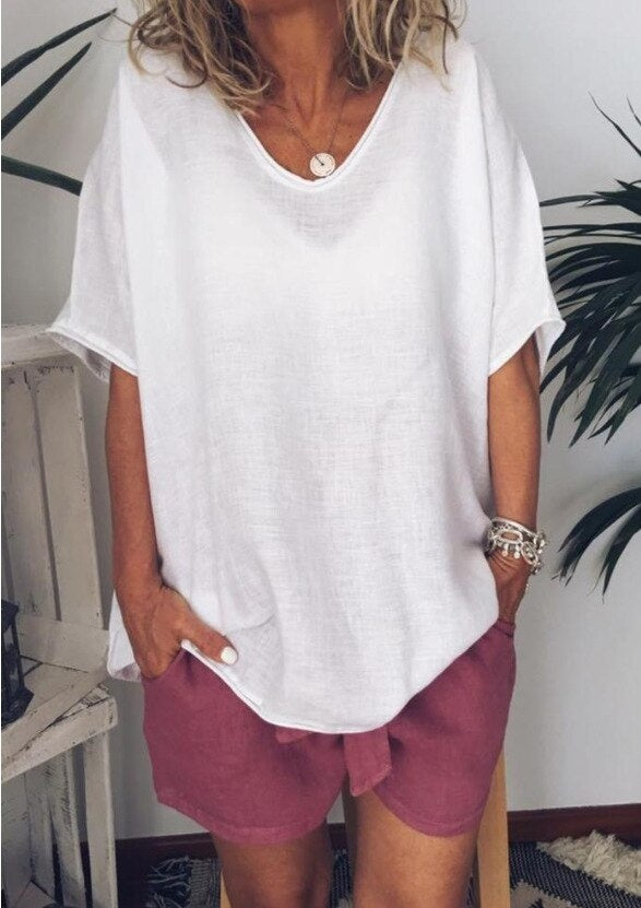 V-Neck Short Sleeve Casual Cotton and Linen Summer Blouse 2019 Women Plus Size White Linen Shirt Ladies Girl Top Woman Clothes