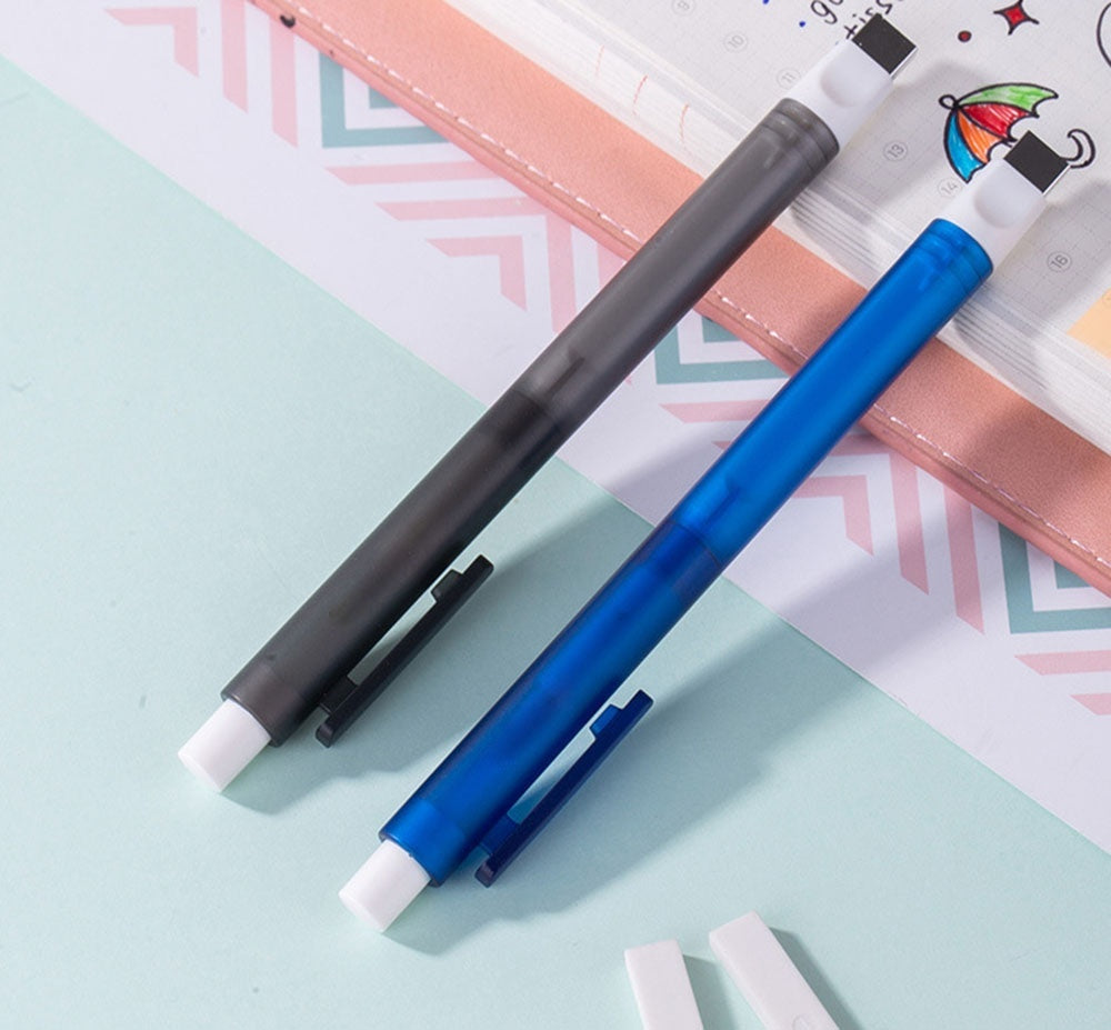 Eraser Mechanical Eraser Meticulous Highlighting Refillable Pen Shape Rubber Press Type Sketch Drawing Eraser School Stationery