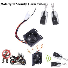 Load image into Gallery viewer, 3Pcs Motorcycle Security Alarm System Anti-theft Horn Alarm Warner with Remote Control Cutting Off Remote Engine Start Arming Disarming