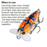 3/6pcs 4cm Popper Bionic Cicada Sytle Topwater Fishing Lures for Fishing Bass/Perch ETC