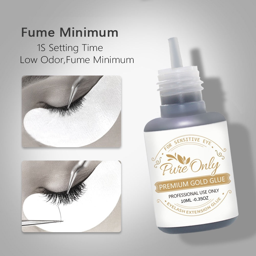 10ML Pure Only Eyelash Extension Premium Gold Glue for Individual Eyelashes 1s Quick Drying Retention 7-8 weeks Maximum Bond Black Lash Glue Adhesive for Professional Use Only