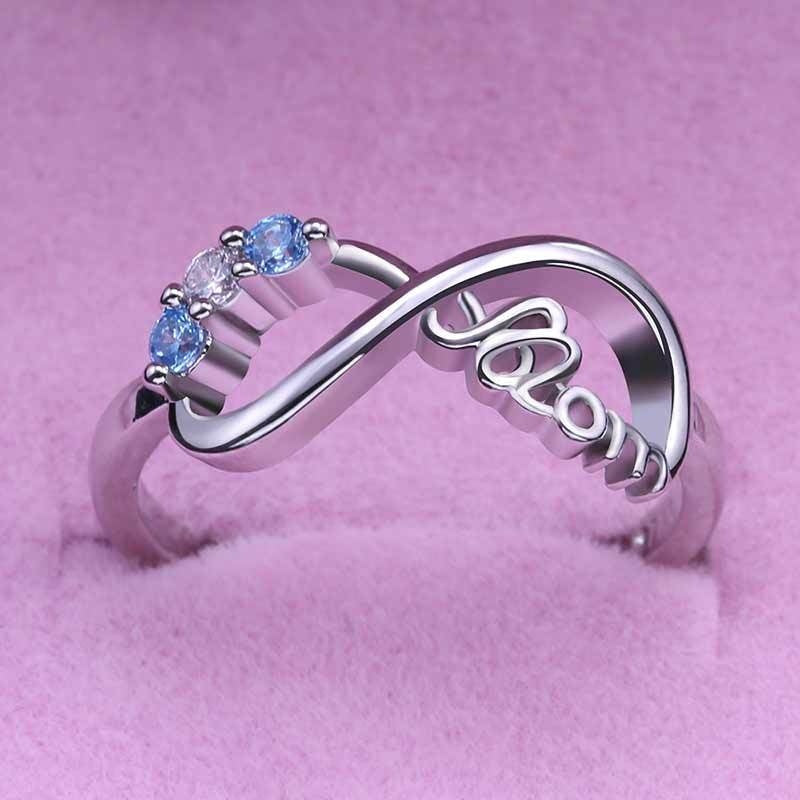 2019 Vintage Silver Heart Love MOM Rings Infinity Ring Women Jewelry for Birthday Mother's Day Gift Mom Ring
