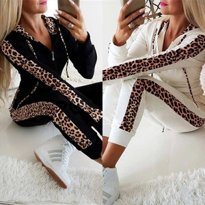 Women Fashion Leopard Printed Two Pieces Sports Suits Tops with Pants