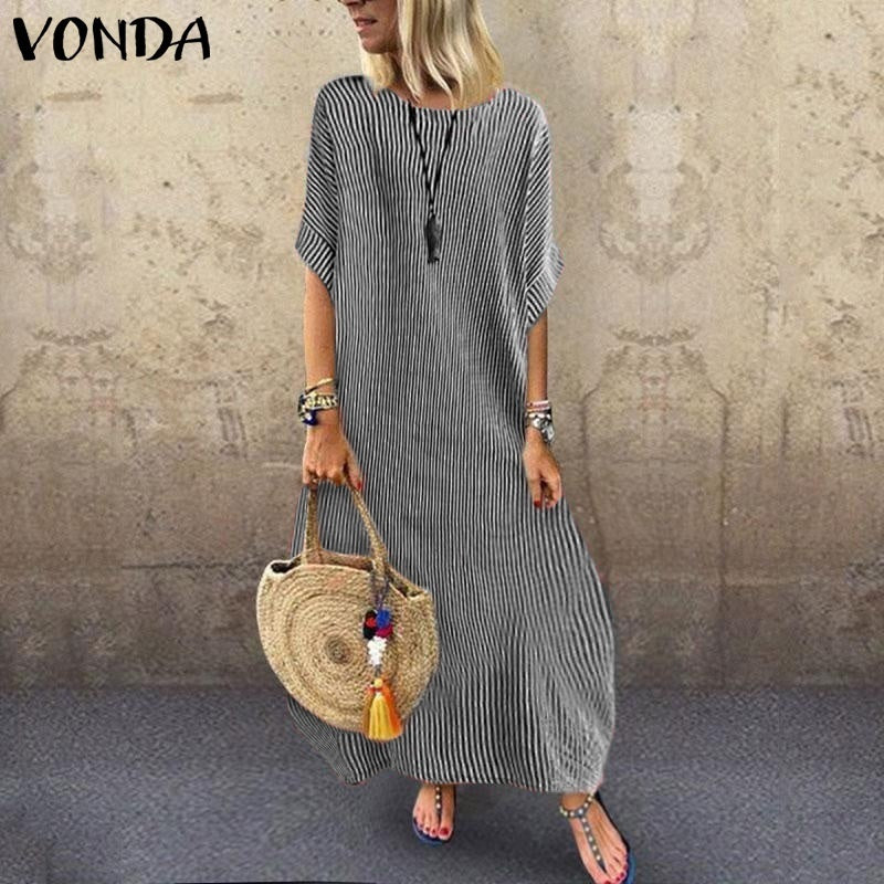 VONDA Women Cotton Linen Vertical Striped Long Maxi Dress  O Neck Short Sleeve Beach Party Sundress Plus Size