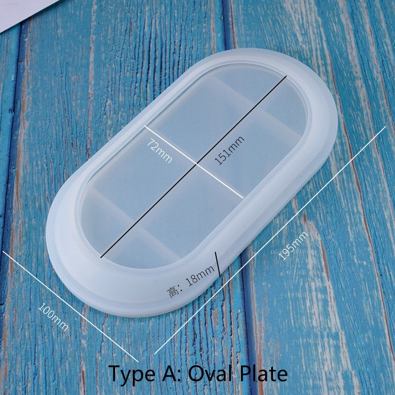 2 Types of Flat Plate Mold Dish Mold Homemade Plate Silicone Mold DIY Resin Craft(Mold Only)