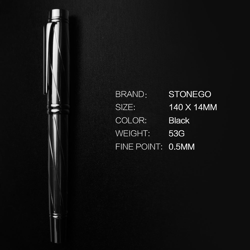 Metal Fountain Pen, Twist Converter, Medium Nib Pen, Use with Standard Ink, Smooth Writing, Luxury Calligraphy Fountain Pens Drawing Journal Executive Business Pens Classic STONEGO Stationery Gift for Men Women, School, Office