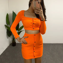 Load image into Gallery viewer, Women's Fashion Sets Buttons Long Sleeve Crop Top Mini Skirt Sexy Club Neon Green Conjuntos Suits Two Piece Party Outfits