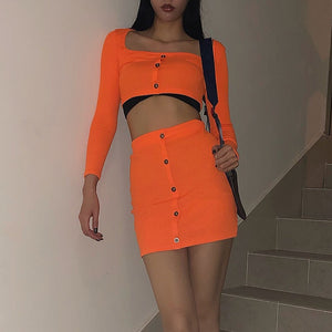 Women's Fashion Sets Buttons Long Sleeve Crop Top Mini Skirt Sexy Club Neon Green Conjuntos Suits Two Piece Party Outfits