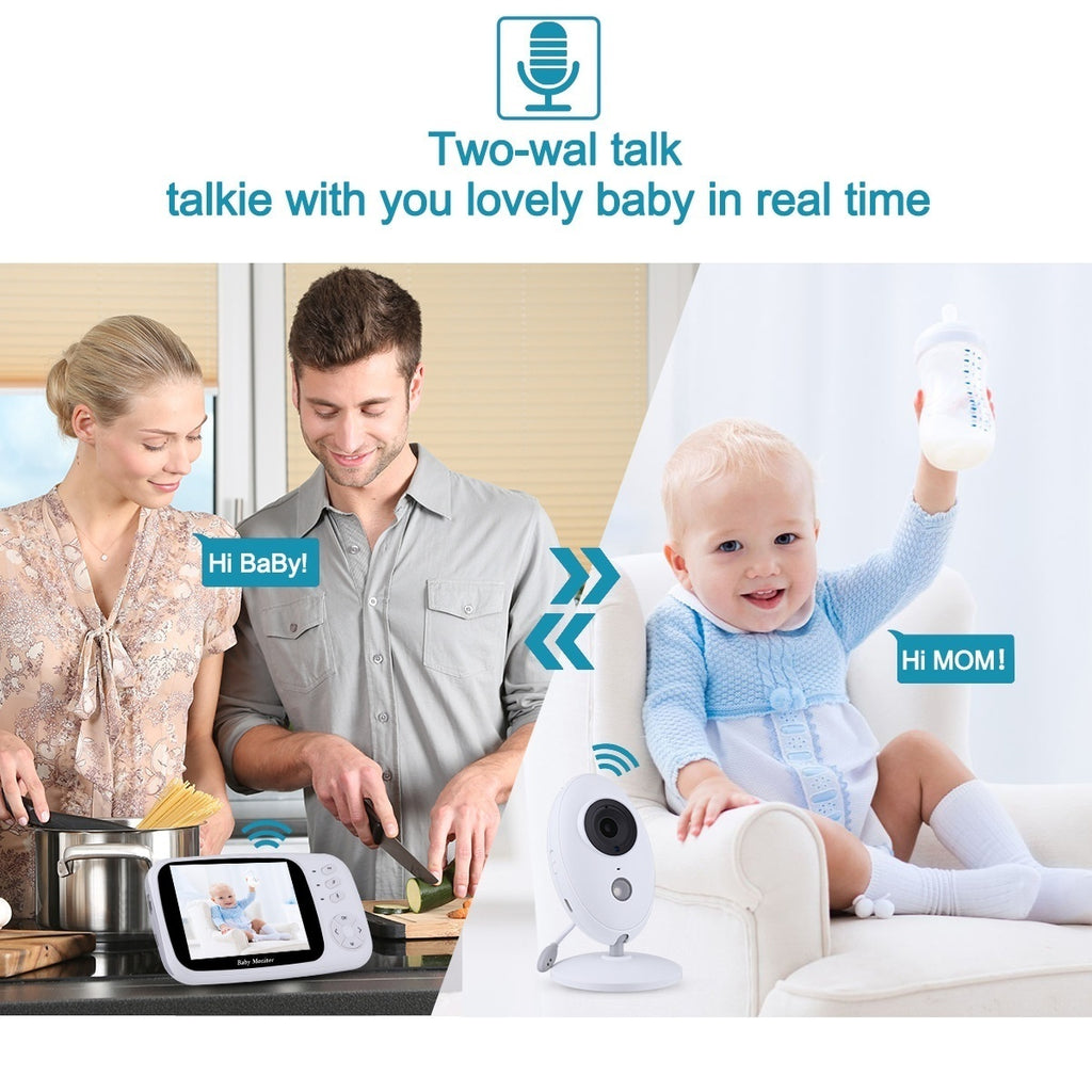 Video Baby Monitor with Camera and Audio 3.5-inch Baby Camera with Night Vision Multi-camera Support Two-way Audio Automatic VOX Lullaby Feeding Alarm Clock Baby Pet Old Night Light