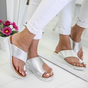 Women's Fashion Beach Slippers Leather Wedges Open Toe Shoes Ladies Platform Slippers Plus Size