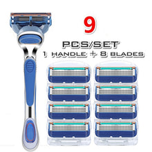 Load image into Gallery viewer, High quality 5-layer razor frame combination brand new upgrade men's razor blade 5PCS / 9PCS / 13PCS / 17PCS / 21PCS