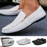 Mens Casual Loafers Slip-on Flat Shoes Breathable Striped Flat Shoes Plus Size Men Driving Shoes Doug Shoes