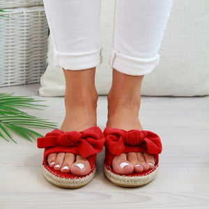 2019 Women Summer Fashion Bow Knot Open Toe Flat Heel Slides Slip-On Mules Espadrilles Ladies Slippers Claquettes Femme