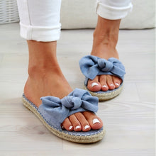 Load image into Gallery viewer, 2019 Women Summer Fashion Bow Knot Open Toe Flat Heel Slides Slip-On Mules Espadrilles Ladies Slippers Claquettes Femme