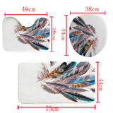 Colourful Feathers Print Waterproof Mildew-proof Shower Curtain + Anti-Slip Bathroom Pedestal Rug + Toilet Lid Cover + Floor Mat Bath Mat Bathroom Accessories Home Decoration