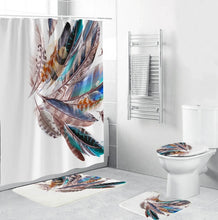 Load image into Gallery viewer, Colourful Feathers Print Waterproof Mildew-proof Shower Curtain + Anti-Slip Bathroom Pedestal Rug + Toilet Lid Cover + Floor Mat Bath Mat Bathroom Accessories Home Decoration
