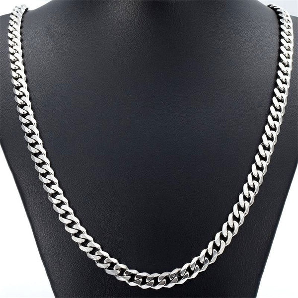 7 MM 16-30 Fashion Punk Hiphop Rock Mens Jewelry Stainless Steel Silver Curb Cuban Chain Necklace Charm Cool Jewelry