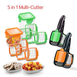 5 in 1 Multifunctional Quick Stainless Food Fruit Vegetable Cutter Slicer Chopper Nicer Dicer with Container Kitchen Tool