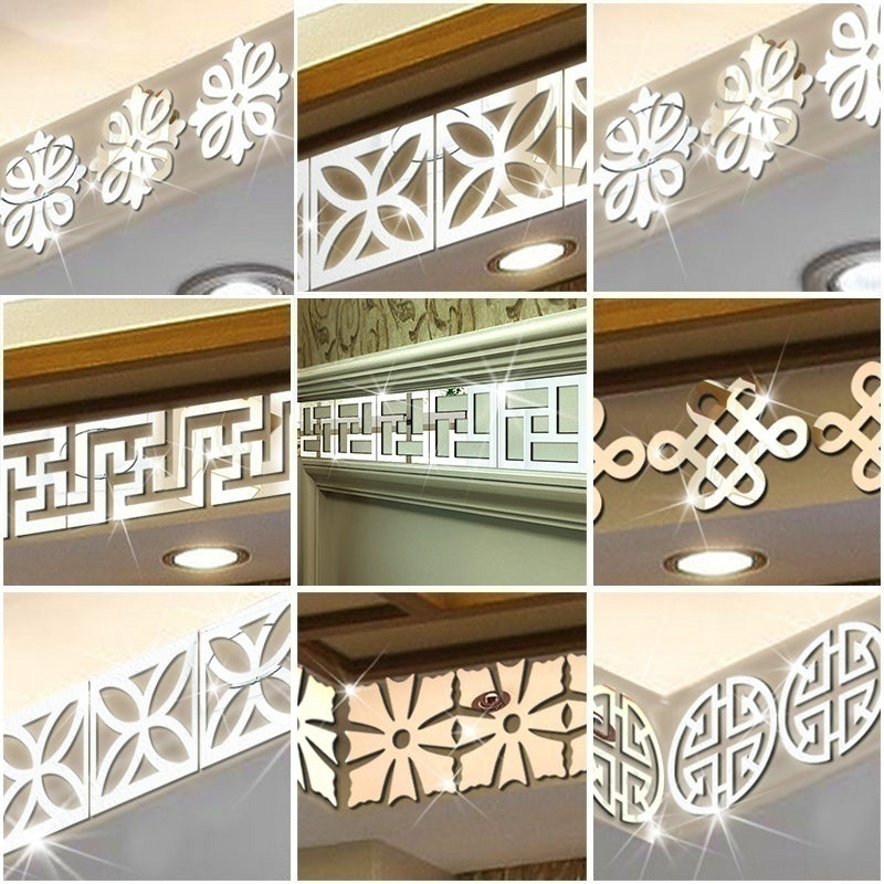 10PCS/Set Square Hollow Mirror Wall Stickers for Bedroom Living Room DIY Wall Art Decals Home Decor