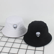Load image into Gallery viewer, Black White Solid Alien Embroidery Bucket Hat Unisex Bob Caps Hip Hop Gorros Men Women Summer Panama Cap Beach Sun Fishing Hat