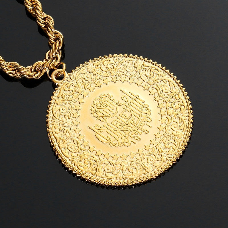 Arabic Coin Muslim Islam Middle East Necklace for Women Gold Color Arab/Africa Islamic Like Jewelry