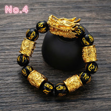 Load image into Gallery viewer, Fashion Man Woman Bead Natural Obsidian Bracelet Buddha Beads Lucky Bracelet Bangle Dragon