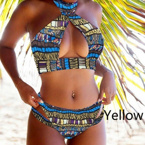 Summer Fashion Women Beach Sexy Women Color Print Bikini Set Push-up Padded Bra Swimsuit Bathing Swimwear