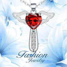 Load image into Gallery viewer, Necklaces for Women Girls Cross Cubic Zirconia Angel Wing Birthstone Heart Charm Pendant Necklace ,Stainless Steel Chain Length 18+2 Inch