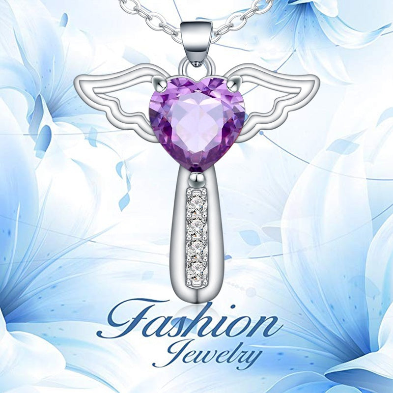Necklaces for Women Girls Cross Cubic Zirconia Angel Wing Birthstone Heart Charm Pendant Necklace ,Stainless Steel Chain Length 18+2 Inch