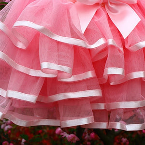 2-10 Years Kids Girls Summer Fashion Rose Color Layered Mini Tulle Tutu Skirt for Casual Birthday Ballet Dance Wear