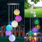 Waterproof LED Solar Powered Wind Chime Color Changing Crystal Ball Spinner Hanging Spiral String Light Patio Outdoor Yard Garden Decorative Wind Bell Light