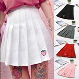 SO CUTE!!!Women Pleated Mini Skirt With Strawberry Embroidery High Waist Short Skirt Pure Color Sweet Mini Skirts College Style Girl Skirt