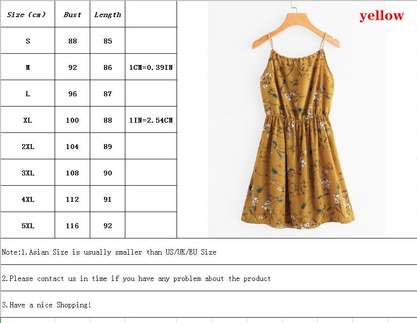 Summer Women Sleeveless Dress Casual Loose Floral Printed Beach Dress
