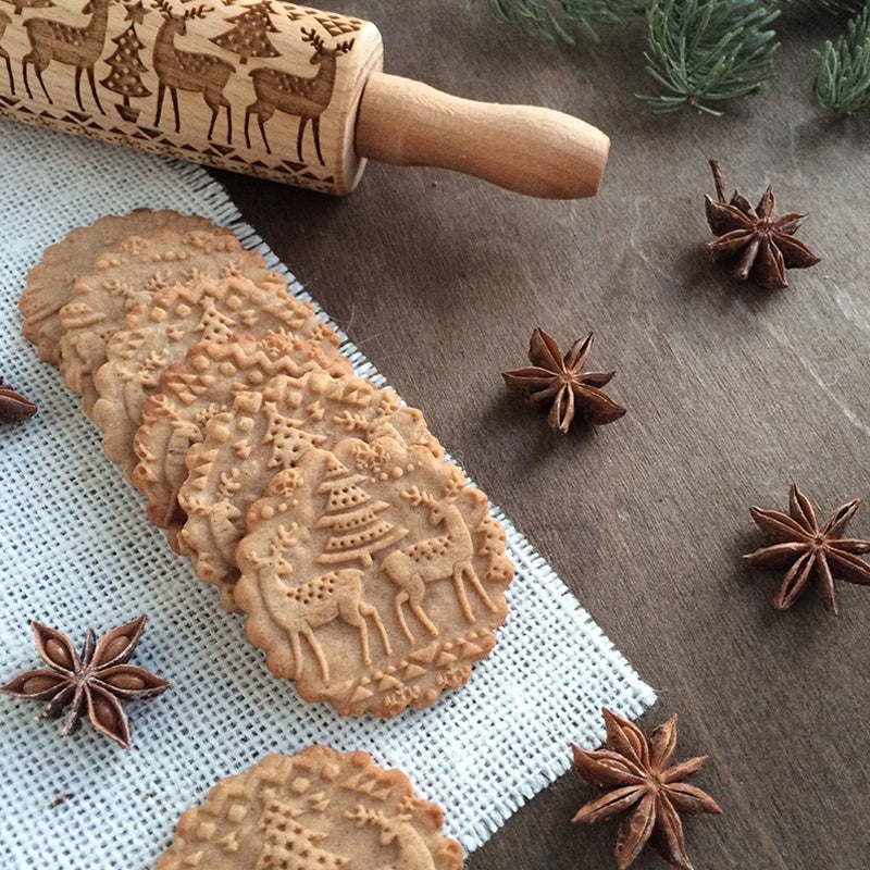 Wooden Rolling Pin Embossing Baking Cookies Noodle Biscuit Cake Dough Engraved Patterned Roller