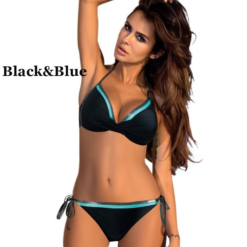 Women's Fashion 6 Colors Push Up Bikini Set Summer Bathing Suit Swimsuit Casual Beachwear Bra + Bikini Bottom