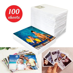 100 Sheets 4R Glossy Photo Paper 4*6 Inch Waterproof Resistant High Gloss Finish Surface Quick Dry for Canon Epson HP Color Inkjet Printer