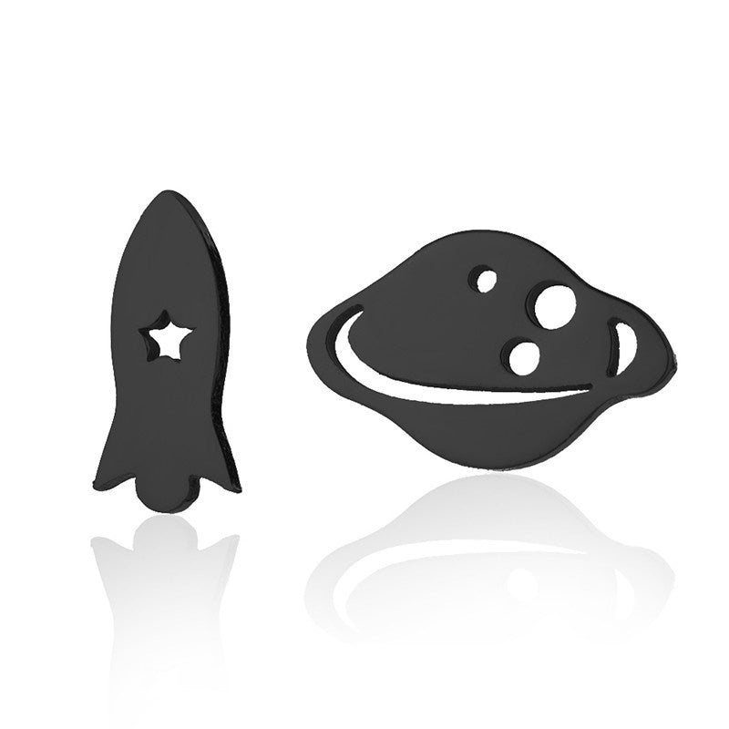 Cute Stainless Steel Mini Rocket Satellite Stud Earring Personalized Spaceship Planets Asymmetrical for Women Girls Tiny Jewelry Gifts