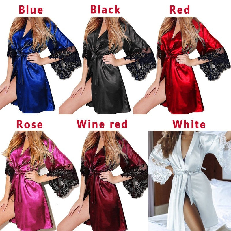 6 Colors S-3XL Women's Silk Pajamas Nightdress V-neck Lace Satin Nightgown Sleepwear Half Sleeve Bridesmaid Robes
