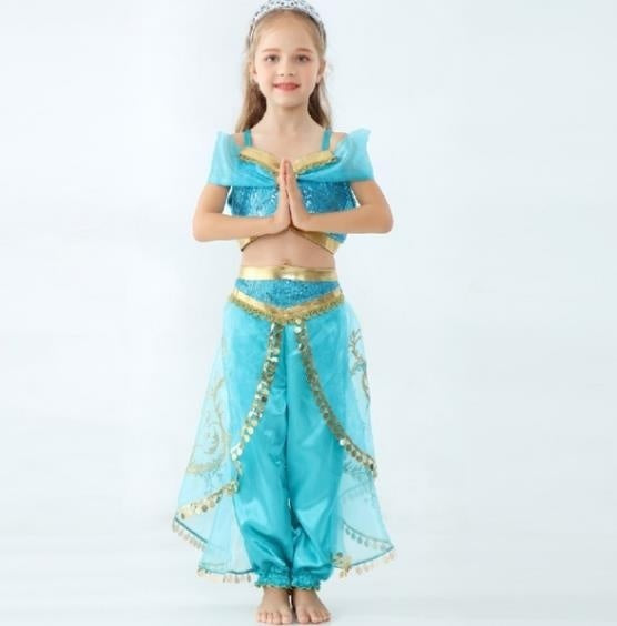 Children's Clothing New Set Kids Costumes Aladdin Magic Lamp Jasmine Cosplay Princess Dress Party Imitation
